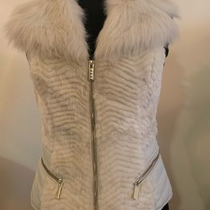GUESS Faux Fur Vest with gold zippers- Size Small